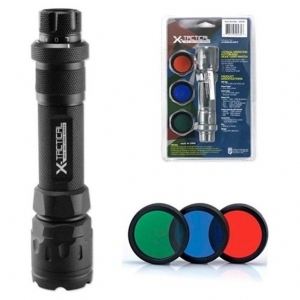 X-tactical XR-E CREE LED Flashlight with 3 Detachable color lenses